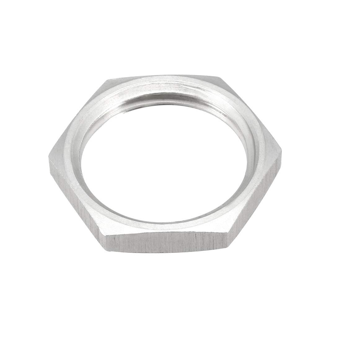 2 Pcs uxcell Pipe Fitting Hex Locknut SUS304 Stainless Steel G1//2 Inch Female Threaded