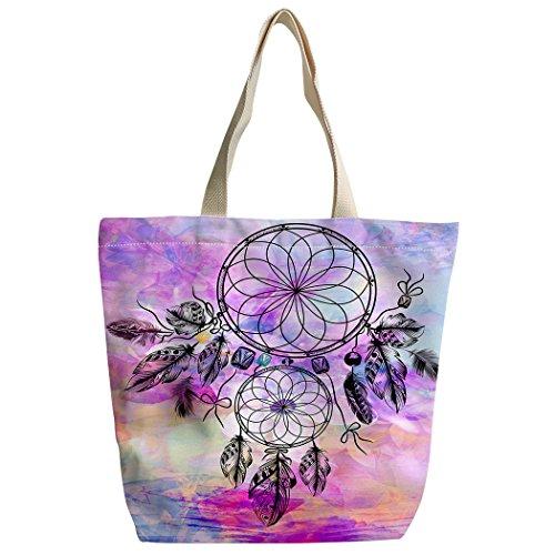 SXCHEN round dream catcher feather mandala Custom Canvas Tote Bag Handbag