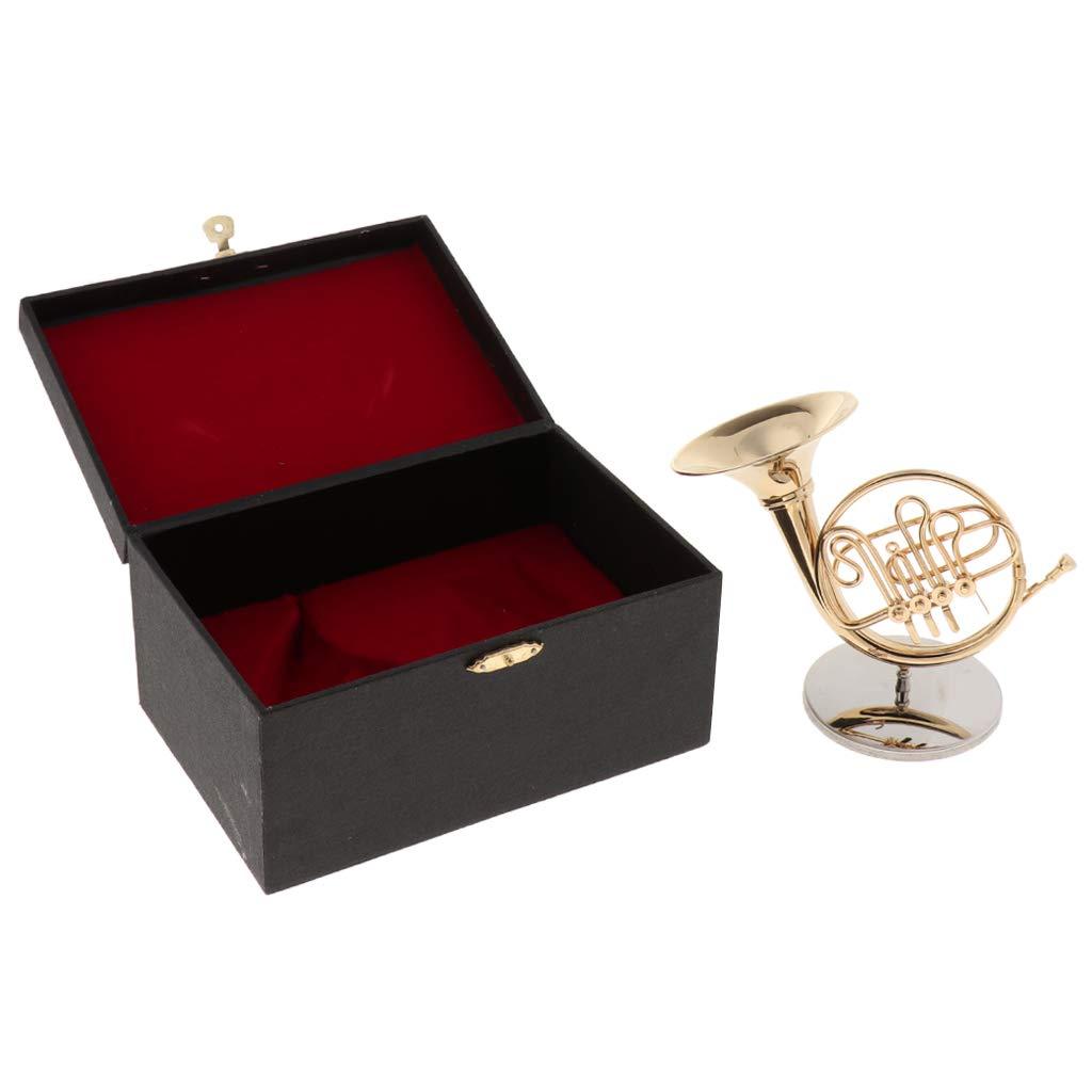 Flameer Finest Mini French Horn Miniature Brass Handicraft Music Gift for Friends Kids Family - Golden, 15cm