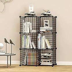UNICOO Multi Use DIY 6 Cube Wire Grid Organizer,Cube Storage, Bookcase, Bookshelf, Storage Organizer, Toy Organizer - (Black Wire)