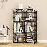 UNICOO - Multi Use DIY 6 Cube Wire Grid Organizer,Wardrobe Organizer, Bookcase, Storage Organizer, Wardrobe Closet - (Black Wire)
