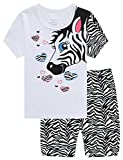 Family Horse Big Girl 2 Piece 100% Cotton Short Pajamas Set Soft Kid Pjs Size 8 Years White