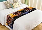 PicaqiuXzzz Custom Animal Bed Runner, Watercolor Tiger Bed Runners And Scarves Bed Decoration 20x95 inch
