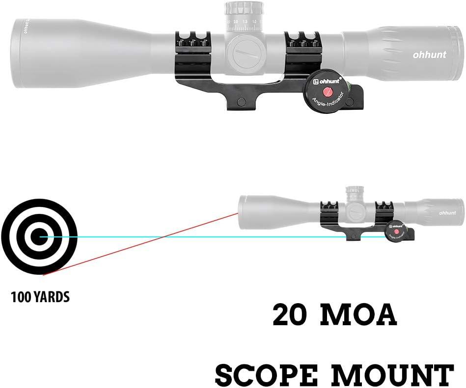 Ohhunt 20 Moa Scope Mount con Angolo Cosine Kit indicatore Bubble Level One Piece Clip Picatinny Scope Anelli Misura 1 Pollice 30mm