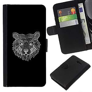 KLONGSHOP // Tirón de la caja Cartera de cuero con ranuras para tarjetas - llevar lápiz negro del arte gráfico de bosquejo - Sony Xperia M2 //