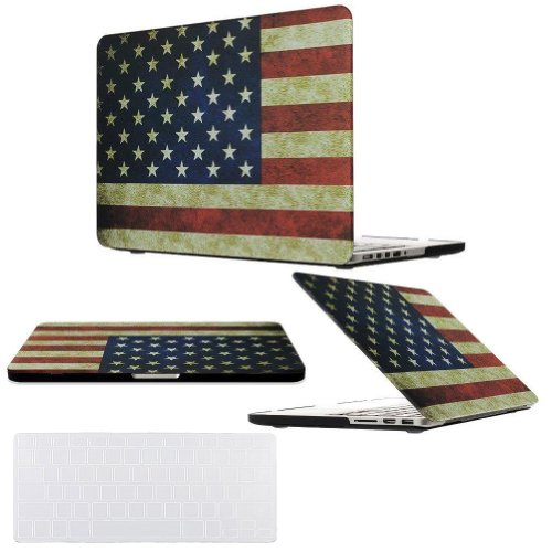 Cover Keyboard Ibook (Easygoby 2 in 1 Retina 15-Inch Vintage American Flag Rubber Coated Hard Case for Apple MacBook Pro 15.4