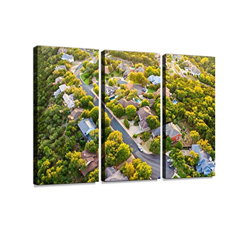 Austin Texas Hill Country, Suburban Countryside Homes, Aerial View 3 Pieces Print On Canvas Wall Artwork Modern Photography Home Decor Unique Pattern Stretched and Framed 3 Piece