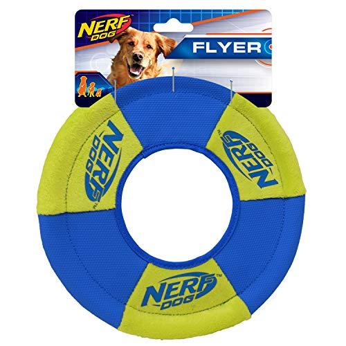 Nerf Dog Medium UltraPlush Trackshot Toss/Tug Ring Dog Toy, Green/Blue