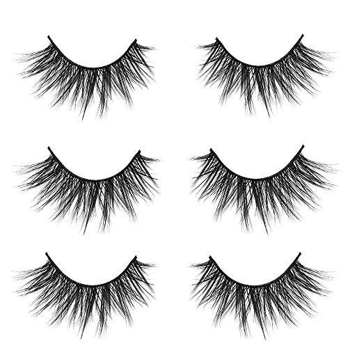 VGTE 3D False Eyelashes Extension 3Pairs Makeup Hand-made Dramatic Long Lashes Reusable Cruelty-Free Fake Eyelash (Best Fake Lashes For Small Eyes)