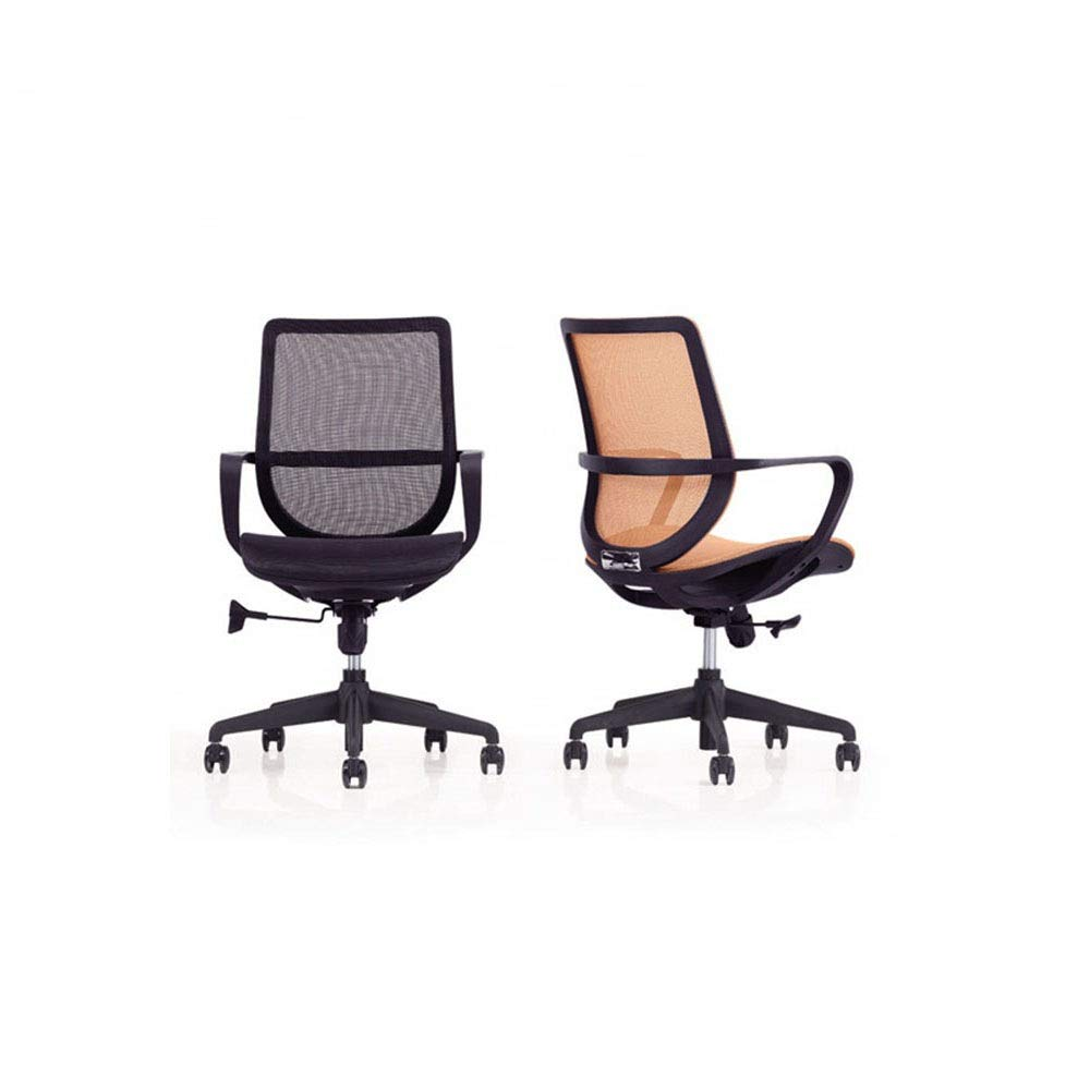 KIMIBen-HC Office Chair Direct Set of Swivel Computer Desk Task Chair Ergonomic Mid Back Mesh Office Chair Human Body Design Waist Support Chair (Color : Orange, Size : 566889cm) by KIMIBen-HC (Image #3)
