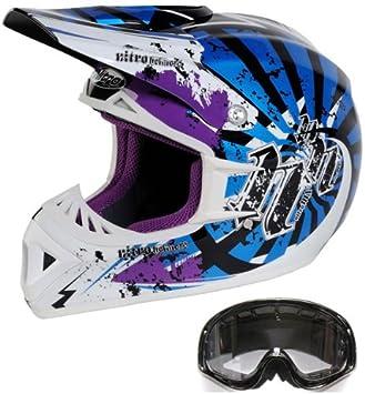 Nitro Bedlam Motocross todoterreno casco cruz casco (fibra de vidrio) M Con (Gafas
