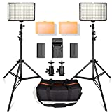 SAMTIAN 160 LED Video Light Kit with 2 Meters Tripod, 3200/5500K Photo Light Panel Stand Set for YouTube Studio Photography Shooting, Including Batteries, Charger, Carry Case