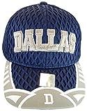 Dallas Texas Script & Stars Summer Mesh Adjustable Baseball Caps (Navy/Gray Script)
