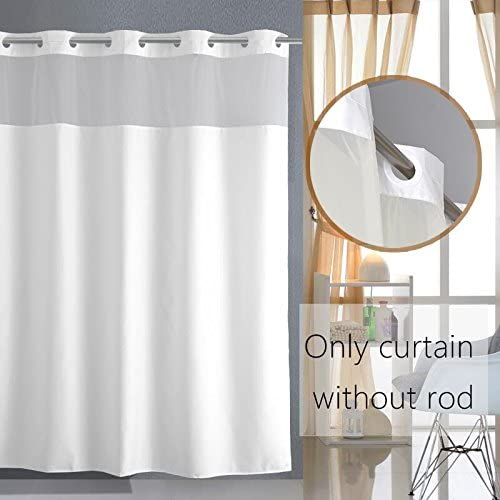 Pure White Bath Curtains Waterproof Home Decor Shower Curtain Panel Sheer Decor