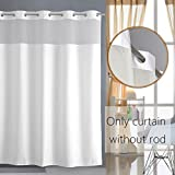 Avershine Light-Filtering Mesh ScreenPolyester Fabric Hookless Shower Curtain Waterproof Non-Toxic Eco-Friendly Washable , 72x72-White