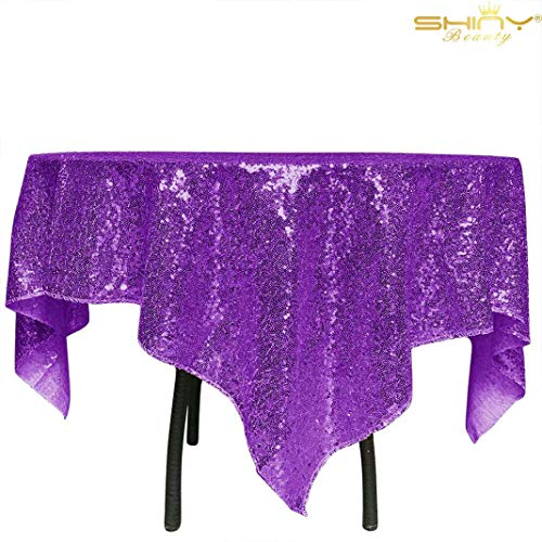 (Sequin Tablecloth 36x36-Inch-Purple Square Glitter Table Cover Royal Purple Table Cloths for Parties -190626J)