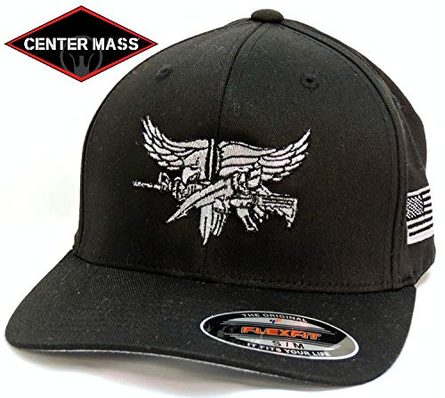 Baseball Flex Fit hat with Grey SWAT Operator Insignia - Black S/M -