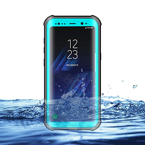 Eazewell Durable Ultra Slim 100% Waterproof Case Shockproof Dustproof Snowproof Hard Shell Underwater Protective Box Rugged Cover with Kickstand for Samsung Galaxy S8 SM-G950 (Cyan)