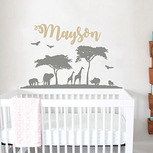 Personalized Safari Nursery Wall Decal Name. Wall Vinyl Sticker Nursery. Baby Name Wall Decal  sc 1 st  Amazon.com & Amazon.com: Personalized Safari Nursery Wall Decal Name. Wall Vinyl ...