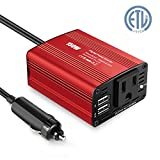 150W Power Inverter DC 12V to 110V AC Car Adapters Inverter with 3.1A Dual Car USB Charger Adapter for Smartphones, Laptop, Nebulizer, Household Appliances in case Emergency Outage
