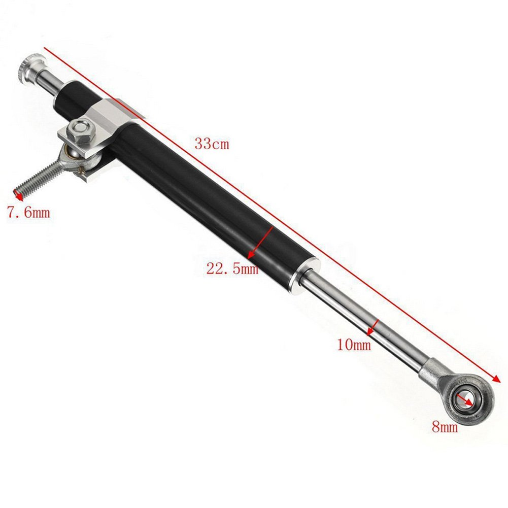 red 330MM Universal Aluminum Motorcycle Steering Damper Stabilizer 6way Adjust Stabilizer Linear Safety Control