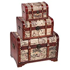 Give any room an antique feel with this set of 3 wooden chest trunks. Faux leather with map print covers these chests. Pull ring handles on the sides of the boxes, the hinges, and front clasps all look appropriately aged. Round rivets on the ...
