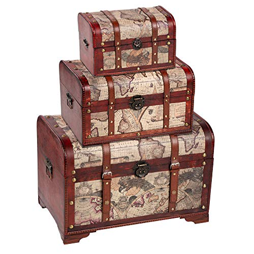 Antique Furniture Victorian - Juvale Wooden Chest Trunk, 3-Piece Storage Trunk and Chests | Map Pattern - Antique Victorian Style - Pirate Treasure Chest in 3 Different Sizes