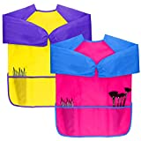 Dreampark 2 Pack Kids Art Aprons Children Art Smock with Waterproof Long Sleeve 3 Roomy Pockets , Ages 2-6 , Pink and Yellow (Paints and Brushes not included)