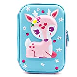 Pencil Case - Girls Boys Large Deer Pencil Case,Cute Fox Embossed Hardtop EVA Pen Pouch with Multi- Compartment for School Students Girls Teens Kids