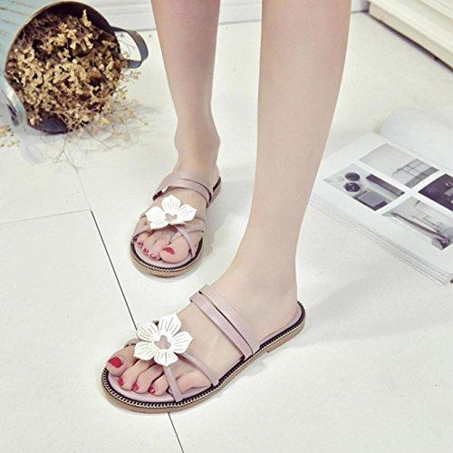 Zapatillas Mujer, Internet Zapatillas de flores bohemia verano mujer Rosado