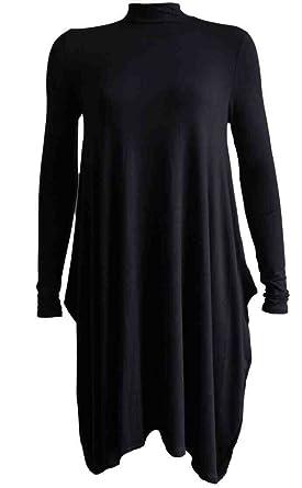 46b0a51481 Momo Ayat Fashions Ladies Lightweight Jersey Turtle Neck Flared Swing  Skater Dress UK Size 8-26