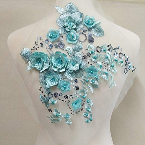 - Delicate 3D Flower Decoration Colorful Stereo Embroidery Pearl Lace Handmade DIY Decoration Garment Patch Wedding Garment Decorative Flowers (Light Blue)