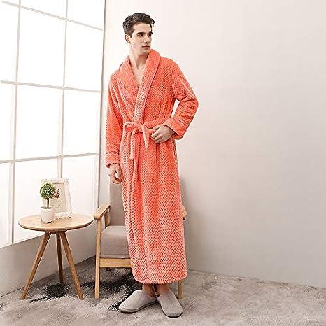 EingY Batas De Hombre Vestido De Lana Lujoso Albornoz Cuello De Chal Pijamas De Servicio A Domicilio XL: Amazon.es: Hogar