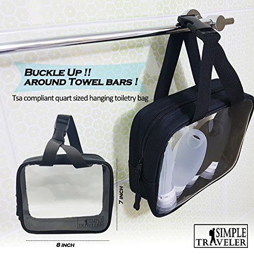 TSA approved Toiletry Bag Squeezable Silicone Travel Bottles Set | Clear Leak Proof Refillable Containers for Liquids (BPA Free, 3.3 OZ) | Toothbrush covers with Hanging Strap | Quart Sized Air Carry- by Simpletraveler (Image #4)