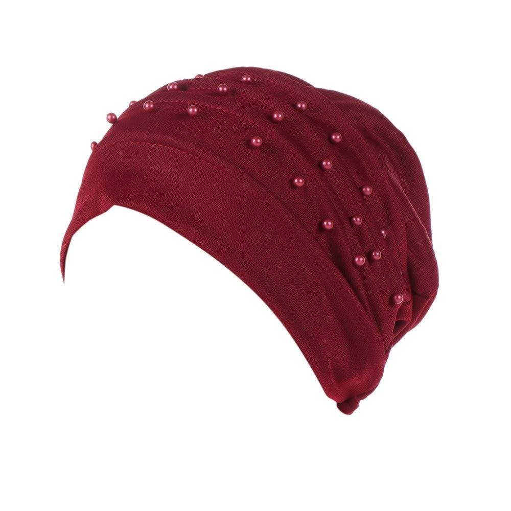 Anxinke Women Fashion Beaded Beanie Turban Headwraps