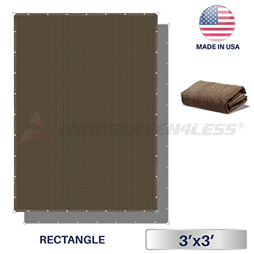 Windscreen4less Straight Edge Sun Shade Sail,Rectangle Outdoor Shade Cloth Pergola Cover UV Block Fabric 180GSM – Custom Size Brown 3 X 3