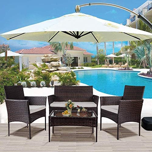 nozama Patio Porch Set 4 Pieces Patio Furniture Set Outdoor PE Rattan Wicker Chair
