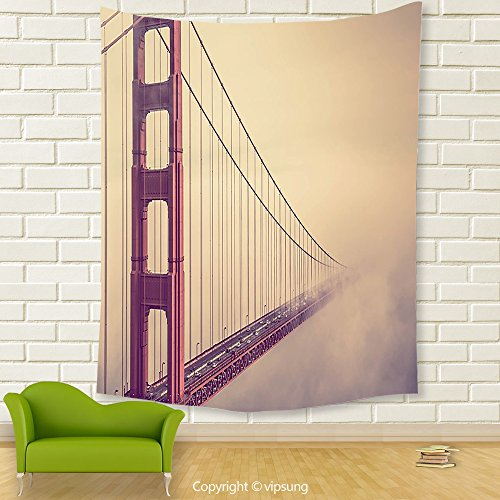 Vipsung House Decor Tapestry_Decor Collection San Francisco Golden Gate Bridge Scenery Fog Mist Highway Horizontal Architecture_Wall Hanging For Bedroom Living Room (Halloween Dog Parade San Francisco)