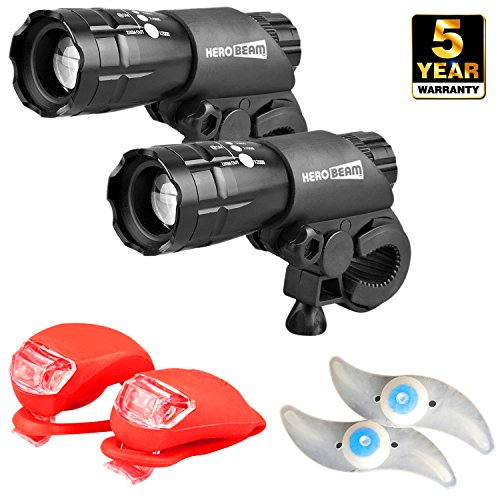 HeroBeam Double Bike Lights Set - The Ultimate Lighting and Safety Pack of...