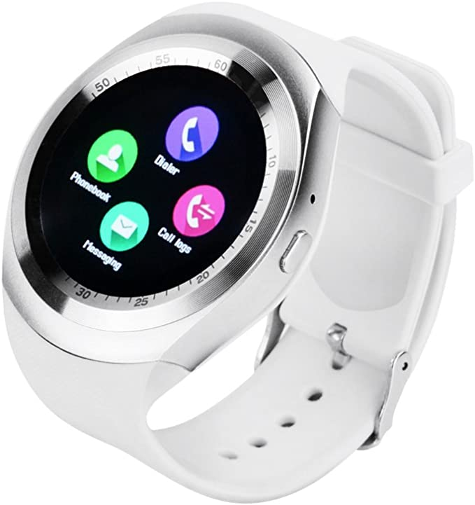 YUNTAB Y1 SmartWatch Touch Screen Support SIM Card with Pedometer Sleep Mode, Compatible iOS Android Smartphone (White)