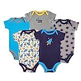 Luvable Friends Baby 5 Pack Bodysuits, Rocket, 12-18 Months