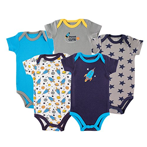 Luvable Friends Baby 5 Pack Bodysuits, Rocket, 9-12 Months (1 Onesie)