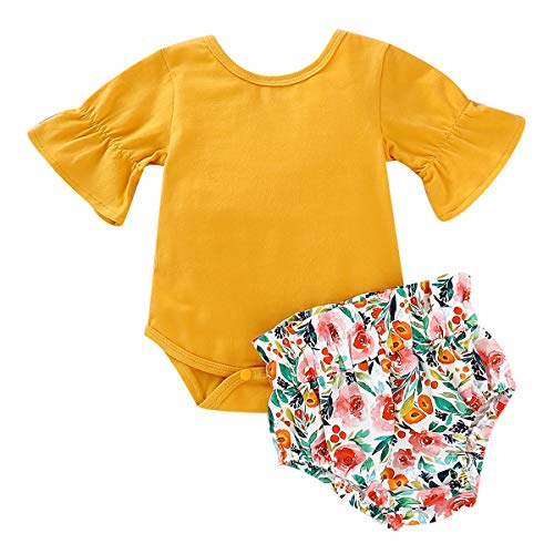 Newborn Baby Clothes Cotton Ruffled Romper + Floral Bloomers Pants 2pcs (0-6 Month) Yellow
