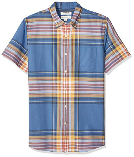(Goodthreads Men's Standard-Fit Short-Sleeve Madras Shirt, Blue Yellow Plaid, X-Large)