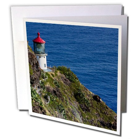 3dRose Danita Delimont - Oahu - Hawaii, Oahu, Waimanalo. U.S. Coast Guard Makapuu Point Light 01 - 6 Greeting Cards with envelopes (gc_250788_1) (Signal Tower Set)