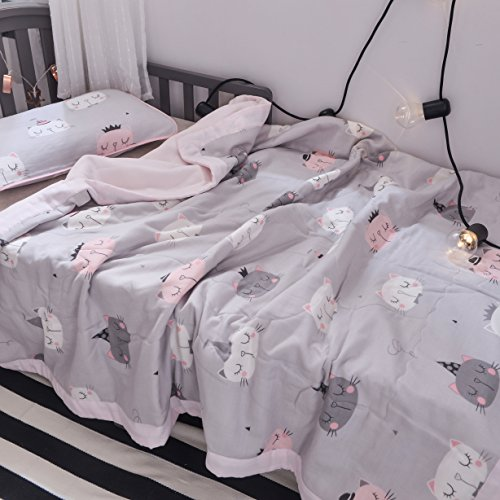 J-pinno Boys & Girls Cute Cats kitty Muslin Quilted Comforter Bedding Coverlet, 100% Long Staple Cotton, Throw Blanket Twin/Full for Kid's Bedroom Decoration Gift (Twin 59