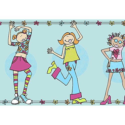 Norwall CM79608 Girl Power Wallpaper Border Blue