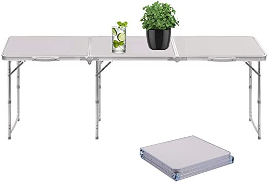 Sunreal Mesa Plegable portátil 1, 82 m Ajustable Plegable para ...