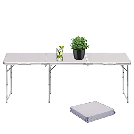 Sunreal Mesa Plegable portátil 1,82 m Ajustable Plegable para  Camping/Cocina/Mesa de Trabajo para Picnic/Barbacoa/Cena al Aire Libre en  Interiores