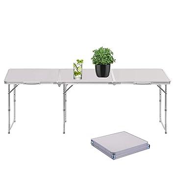 Sunreal Tavolo Pieghevole 1,8 m Portatile Regolabile Pieghevole da  Campeggio/Cucina/tavolo da Lavoro per da Picnic/Barbecue/cena per Esterni  ed ...